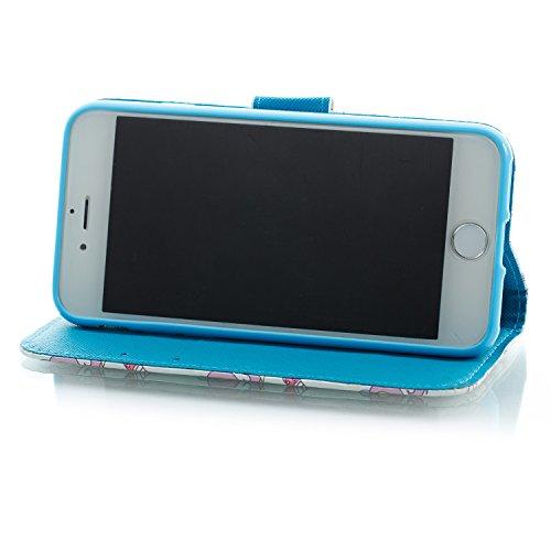 Cover iphone 7 / iphone 8 ,Custodia iphone 7 / iphone 8, COZY HUT Elegante borsa sollievo Design in Pelle PU Case Cover Protettiva Flip Portafoglio Case Cover Protezione Caso per iphone 7 / iphone 8 / Pony blu