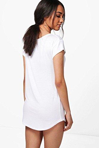 blanc Femmes Petite Jessica V Neck Slogan Night Dress Blanc