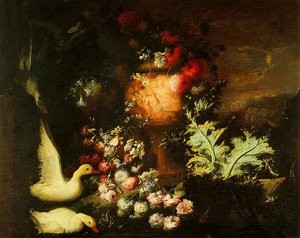 GFM Painting Handgemalte Ölgemälde Reproduktion von Composition with Ducks Cascade of Flowers on Water and Engraved Vase with Flowers and Thistle Leaves,Ölgemälde von Andrea Belvedere - 72 By 96 inches Thistle Vase
