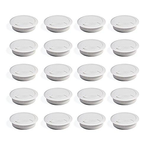 Emuca 3196315 Set von 20 runden Kabeldurchführungen Durchmesser 60mm zum Einfügen am Schreibtisch, aus weiß Kunststoff -