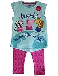 Juego de Camiseta y pantalón de Peppa Pig con Licencia 3/4 para niñas Niños