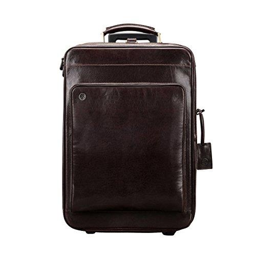 Maxwell Scott - Bagage cabine à roulette cuir italien marron foncé (Piazzale)