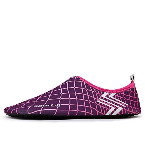 MAYZERO Unisex Scarpe da Acqua per Uomo e Donna Aqua calzini per Immersione Nuotare Spiaggia Surf Yoga Viola&Rosa