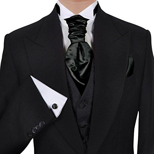 GASSANI (Set Di 3 Plastron Cravatta Larga Cravatta Da Sposa Nera Fazzoletto Da Taschino Gemelli Al Gilet Da Sposa Fracetto Da Sposa