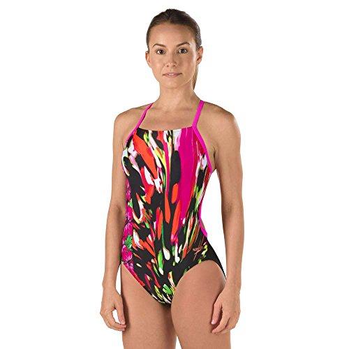 Speedo Damen Powerflex Eco Rio Floral Cross Back One Piece Badeanzug, mehrfarbig (Badeanzug Back Rio)