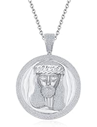 "Silvernshine Men's 1.40 Ct Round D/VVS1 Diamond Jesus Face Pendant 18"" Chain In 14K White Gold Fn"