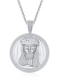 "Silvernshine Men's 1.40 Ct Round D/VVS1 Diamond Jesus Face Pendant 18"" Chain In 14K White Gold Fn"