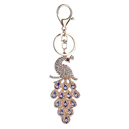 Kongqiabona Keychain Keyring Strass Pfau Blaue Augen Metall Charming Schlüsselbund Tasche Autoschlüssel Ring