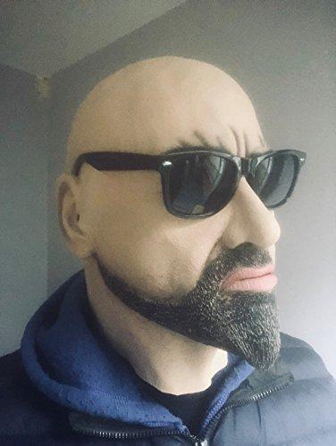 che weiß Stecker Hartschale Man Maske Latex Disguise Halloween Fancy Kleid Goatee ()