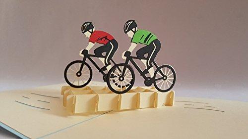 Tour Frankreich, Motorradfahrer New Grußkarte, durch Sie Pop-Up-Grußkarte, Kirigami Papier Craft, Postkarten, Celebration, Gratulation... -