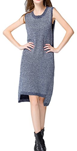 Bigood Robe Longue Femme Pull Sans Manche Col Rond Casual Mode Bleu