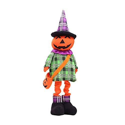 Aolvo Dehnbare Halloween-Puppe, Stehend, süße Plüschpuppe Halloween-Dekoration, Partyzubehör für Kinderzimmer, Wohnzimmer, Büro, 15,9 x 59,9 cm kürbis