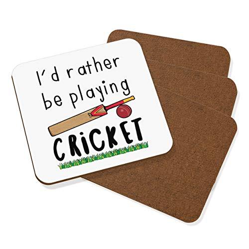 I'D Rather Be Spielen Cricket Untersetzer Getränke Matte Set 4