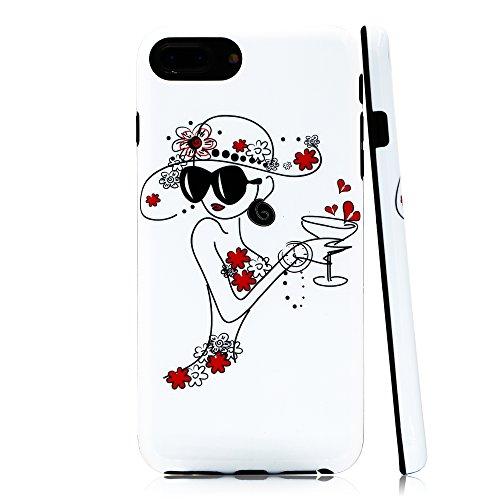 lartin Weicher Flexibler Jellybean Gel TPU Fall für iPhone 8Plus/iPhone 7Plus/iPhone 6S Plus/iPhone 6Plus, Doodle Girl with Cocktail (I Phone 6 Fällen Cheetah)