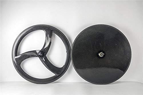 FidgetGear 700C Fahrrad-Räder mit DREI Speichen und Scheibenrädern, Karbon, personalisierbar, Set(Front&Rear) (Speichen-rad-700c 3)