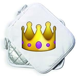 """Manique 23 x 18,5 cm (blanc/smiley """"couronne"""" argent emoji smiley trend bois, mignon, doux, taille basse, cool, manique avec anse cuisine cuisson, maniques, manique"""