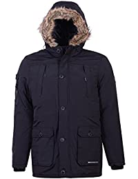 hommes veste parka Crosshatch manteau capuche rembourré fausse fourrure fermeture éclair hiver doublé NEUF