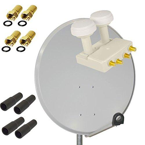 PremiumX Digital SAT Anlage 80 cm Stahl Schüssel Spiegel Antenne Hellgrau + PremiumX PXMB-6QW Quad Monoblock WE LNB für Astra und Hotbird 0,1dB FULLHD 3D TV für 4 Teilnehmer + 4 F-Stecker 7mm vergoldet + 4 Gummitüllen