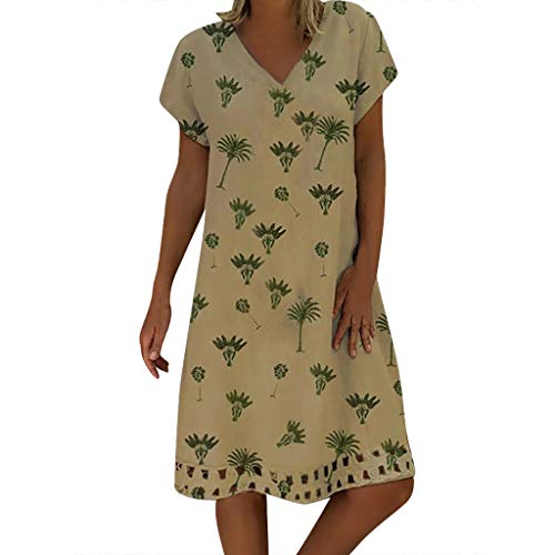 Heiß❗❗❗Damen Sommer Leinenkleid Viawhyt lässig größe Einfarbig Dress Kleider für Frauen T-Shirt Kleider top Kleider (Khaki A, XXL) - Khaki T-shirt Kleid