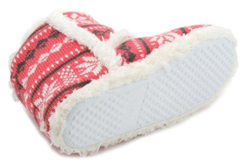 Pantofole da donna a maglia Fair Isle Bootie Slipper Coral Pink