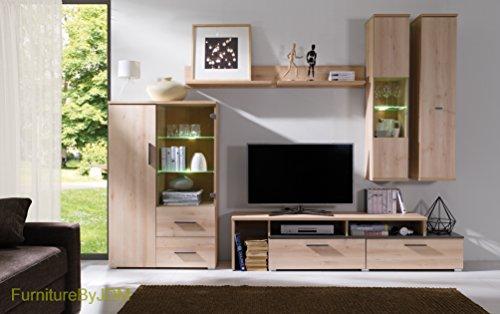 TV Wohnwand, TV Tisch Set, Wohnzimmer Set PERRY Große TV Bank, Freistehend  Display Einheit, Wandhängend Regal Und 2 Wandmontage Schränke In Buche  Farbe.