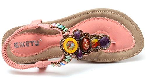 Odema estate delle donne della Boemia della pietra preziosa strass Boho Beach Flip Flops Elastico T-strap Sandali piatti Rosa