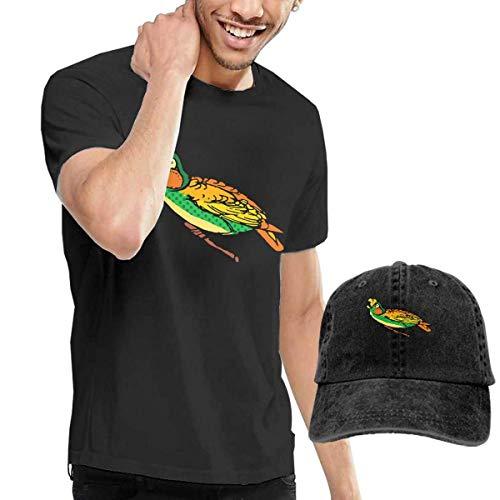 Parrot Kleinkind T-shirt (AOCCK Herren Kurzarmshirt Coloured Parrot Men's Short Sleeve T Shirt & Washed Adjustable Baseball Cap Hat)