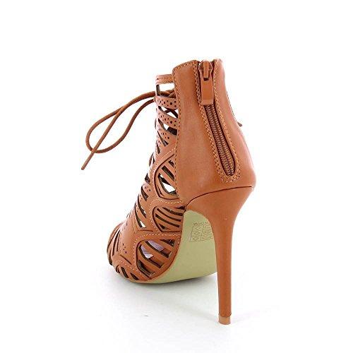 Go Mode - Sandalen schneiden schnürsenkel - Absatz 11 cm - Frau Braun - braun