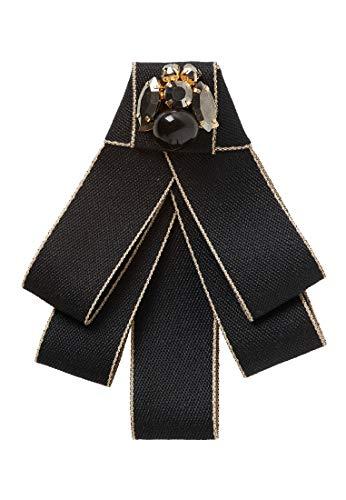 HALLHUBER Schleifenbrosche mit Schmucksteinen schwarz, O.A