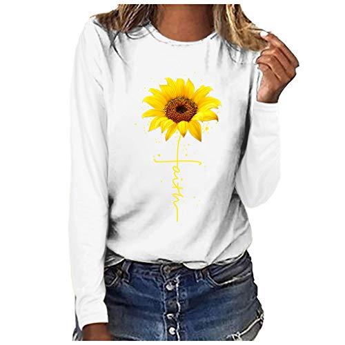 Dasongff Damen Tee, Rundhals Kurzarm Basic T-Shirt Sonnenblume Drucken Tops Modisch Casual Sommertop Lose Kurzarmshirt in Versch Farben S-3XL (Weiß-Langarm, L) -