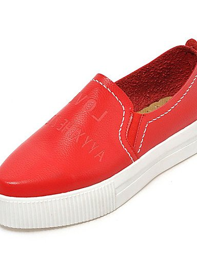 ZQ Scarpe Donna-Mocassini-Formale / Casual-Plateau / Comoda / Punta arrotondata-Plateau-Finta pelle-Nero / Rosso / Bianco / Argento , red-us6 / eu36 / uk4 / cn36 , red-us6 / eu36 / uk4 / cn36 white-us6.5-7 / eu37 / uk4.5-5 / cn37