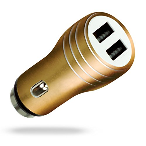 MyGadget Cargador de Coche Metálico Doble Puerto USB (2,1A / 1A) para Móvil - Adaptador Automóvil para Samsung Galaxy Apple iPhone Tablet Nexus - Dorado