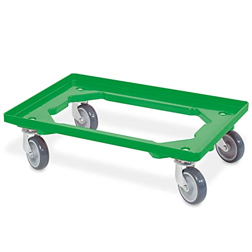 Transportroller/Logistikroller für Eurobehälter 600 x 400 mm, grün, graue Gummiräder, Tragkraft...