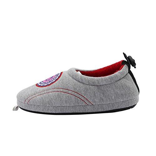Kenroll Fille Garçon Coton Chaussons Chaud Hiver intérieure à la maison Antidérapage Pantoufles Grey