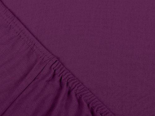 npluseins klassisches Jersey Spannbetttuch - erhältlich in 34 modernen Farben und 6 verschiedenen Größen - 100% Baumwolle, 70 x 140 cm, lila - 4