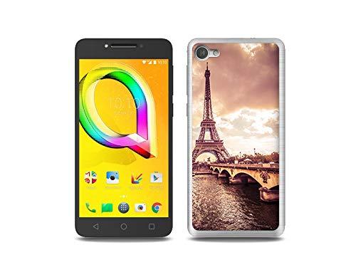 etuo Handyhülle für Alcatel A5 LED - Hülle, Silikon, Gummi Schutzhülle Foto Case - Seine und Eiffelturm