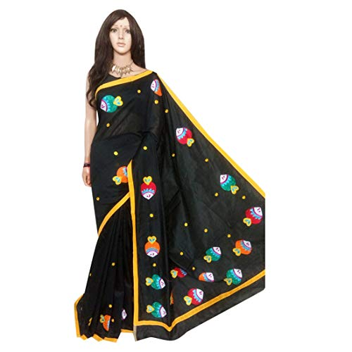 Black Cotton Silk Saree Designer handbemalte Motive indische Frauen Sari aus Westbengal 513 Motive Saree