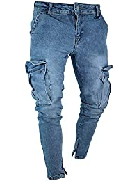 68ebbef353 Pantalones Cargo De Los Hombres Pantalones Vaqueros Flacos Elásticos Pantalones  Vaqueros