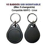 Lot de 10 badges Rfid Mif 1K 13.56Mhz - UID (bloc 0) modifiable - Compatible libNFC Linux