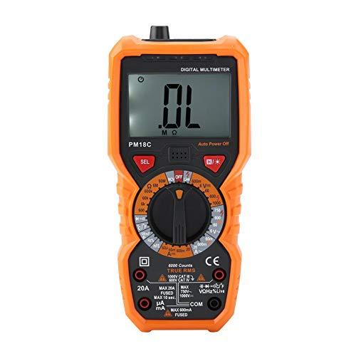 Multímetro digital de mano, PEAKMETER PM18C inteligente Medidor de temperatura Medidor de resistencia de voltaje Verdadero RMS NCV 6000 cuentas