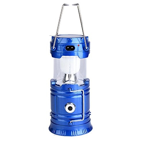linterna camping led solar recargable Sannysis linternas bicicleta montaña Farol LED de camping 6 Leds, Carga USB, camping accesorios bottom with torch lighting (Azul)