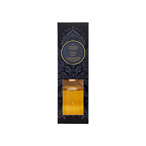 Shearer-Candles-Victorian-Winter-SD0591-100ml-Amber-Noir-Scented-Diffuser-in-Clear-Glass-Bottle-with-Reed-Sticks-Black