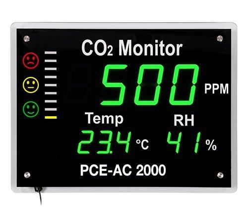 Preisvergleich Produktbild PCE Instruments PCE-AC 2000 CO2-Messgerät / Luftqualitätsmesser für Luftqualität, CO2-Messgerät misst CO2-Gehalt, Temperatur und Luftfeuchte