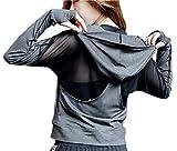 POUREVE Laufjacke Damen Sportjacke, Jacken Frauen Running Sweatshirts Tops, Damen Sport Hoodies Zippe Sportbekleidung Gym Outdoor-Bekleidung Fitness Kleidung für Damen (Grau, L)