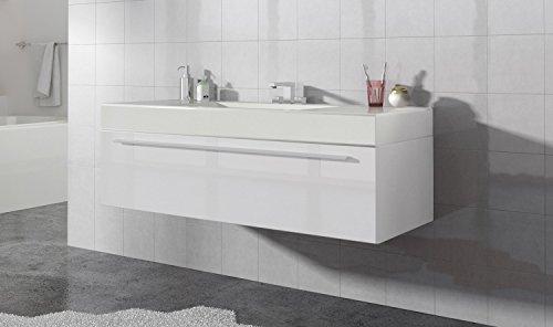 Badezimmer Badmöbel Garcia 120 cm Hochglanz weiß - Unterschrank Schrank Waschbecken Waschtisch
