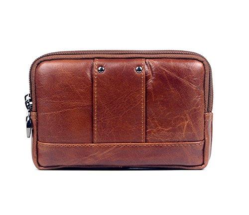 Genda 2Archer Bolso del Teléfono Celular de la Correa de Cuero Bolsa de Cintura Pequeña (15.5cm *4.5cm*10cm) (marrón)