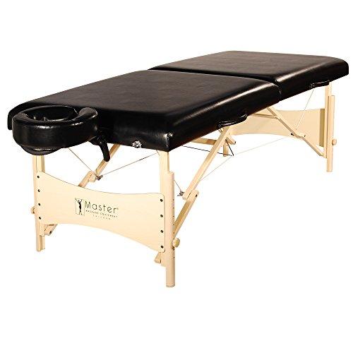 Master Massage 76cm Balboa Mobil tragbar Massageliege Massagebett Massagebank Kosmetikliege Natureholzfuß und Tragetasche (in Schwarzem Luster) -