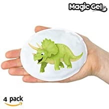 4 x Instant Hand Warmers with Click Heat - Reusable Dinosaur Themed Hot Pocket Warmer (4 Pack, Magic Gel)