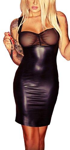 Wetlook Kleid mit Tüll F067 Größe S - 3XL von Klaudia-Dessous Größe 3XL