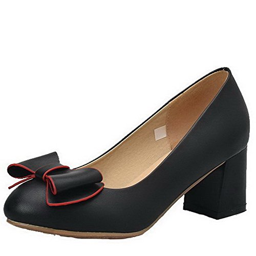 VogueZone009 Damen Rund Zehe Mittler Absatz Weiches Material Rein Ziehen auf Pumps Schuhe, Blau, 39